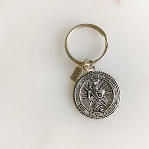 St. Christopher Keychain - BelleStyle - silver patron saint of all travelers st. Christopher be my guide