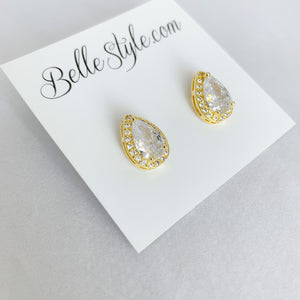 Gold teardrop earrings large cubic zirconia crystals post stud backs wedding bridal