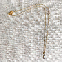 Mini silver key charm necklace gold chain