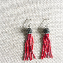 Red crystal tassel earrings