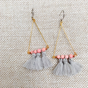 BelleStyle grey tassel earrings