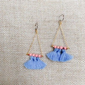 BelleStyle blue tassel earrings