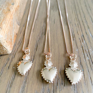 Sacred Heart Rose Gold Charm Necklaces