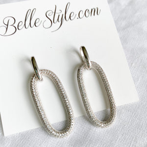Bellestyle oval pave crystal link style post stud earrings silver