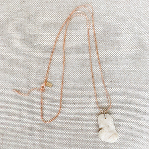 Rose gold necklace with white coral charm summer jewelry