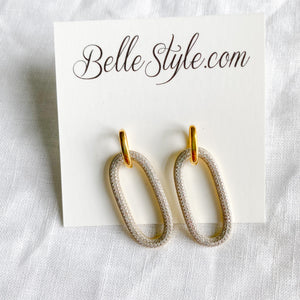 Bellestyle oval pave crystal link style post stud earrings Gold