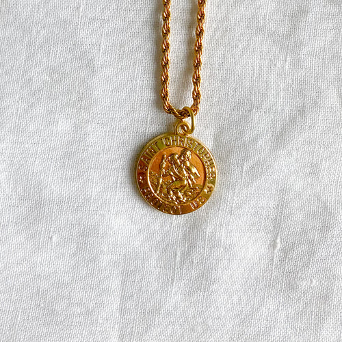 Bellestyle St. Christopher stainless steel gold double rope charm necklace protect us unisex style