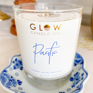 Glow Pacific candle lavender sea salt cedarwood soy wax and poured