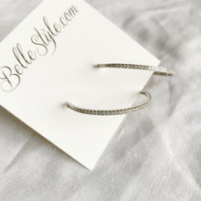 Taylor Silver Crystal Hoop Earrings - BelleStyle