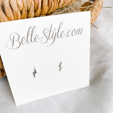 Bellestyle silver lighting bolt earrings