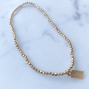 Gold 14K Beaded Bracelet - Bellestyle Mini faceted