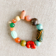 African prayer bead bracelet color red blue
