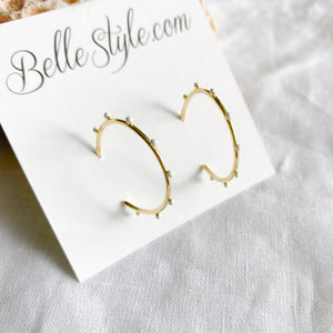 Dot Gold Hoop Earrings - BelleStyle