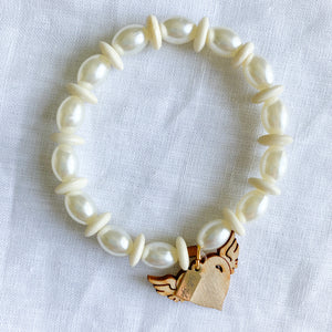 Bellestyle faux pearl bone rosewood flying heart sustainable bracelet