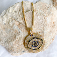 Bellestyle Turkish evil eye pave crystal charm necklace