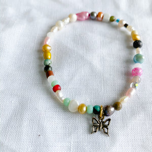 Multi colored freshwater pearl butterfly charm bracelet