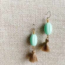 vintage mint colored bead tassel earrings