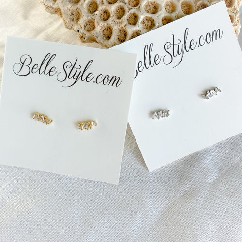 Marmont Earrings BelleStyle - sterling silver gold plate stud post everyday baguette crystals