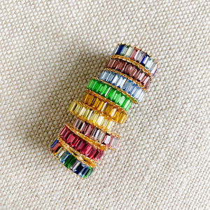 Multi colored baguette crystal gold ring