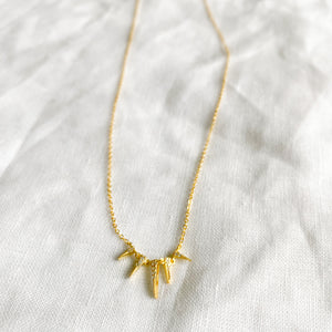 Sunbeam Gold Crystal Necklace - BelleStyle