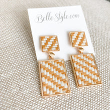 BelleStyle Woven raffia natural post earrings
