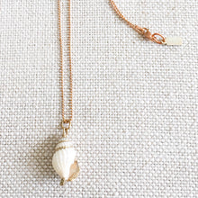 White shell rose gold ball chain necklace bellestyle logo tag