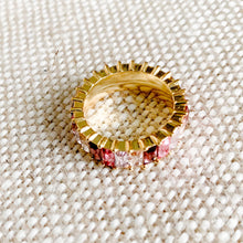 Rainbow Pink baguette crystal gold ring