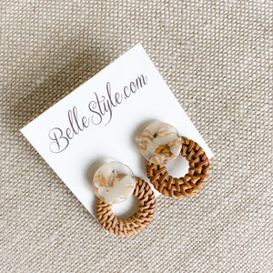 Wicker basketweave drop statement earrings Bellestyle