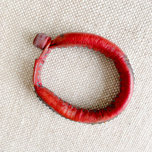 Red leather vintage African hand sewn bracelet