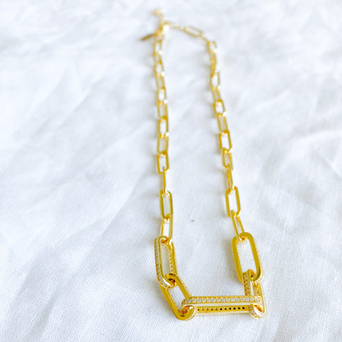 Bellestyle long link necklace gold
