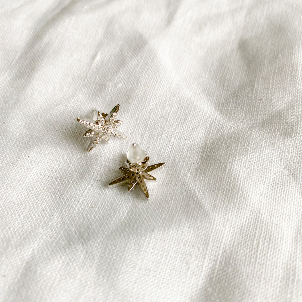 Sterling silver eight point star crystal post earrings