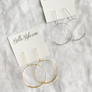 Bellestyle lightweight sterling silver open hoops earrings pave crystal details silver gold