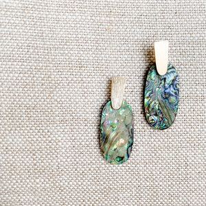 Abalone shell color gold earrings