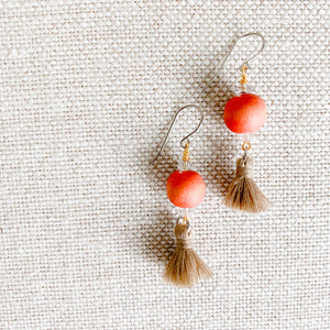 Orange and tan tassel dangle earrings