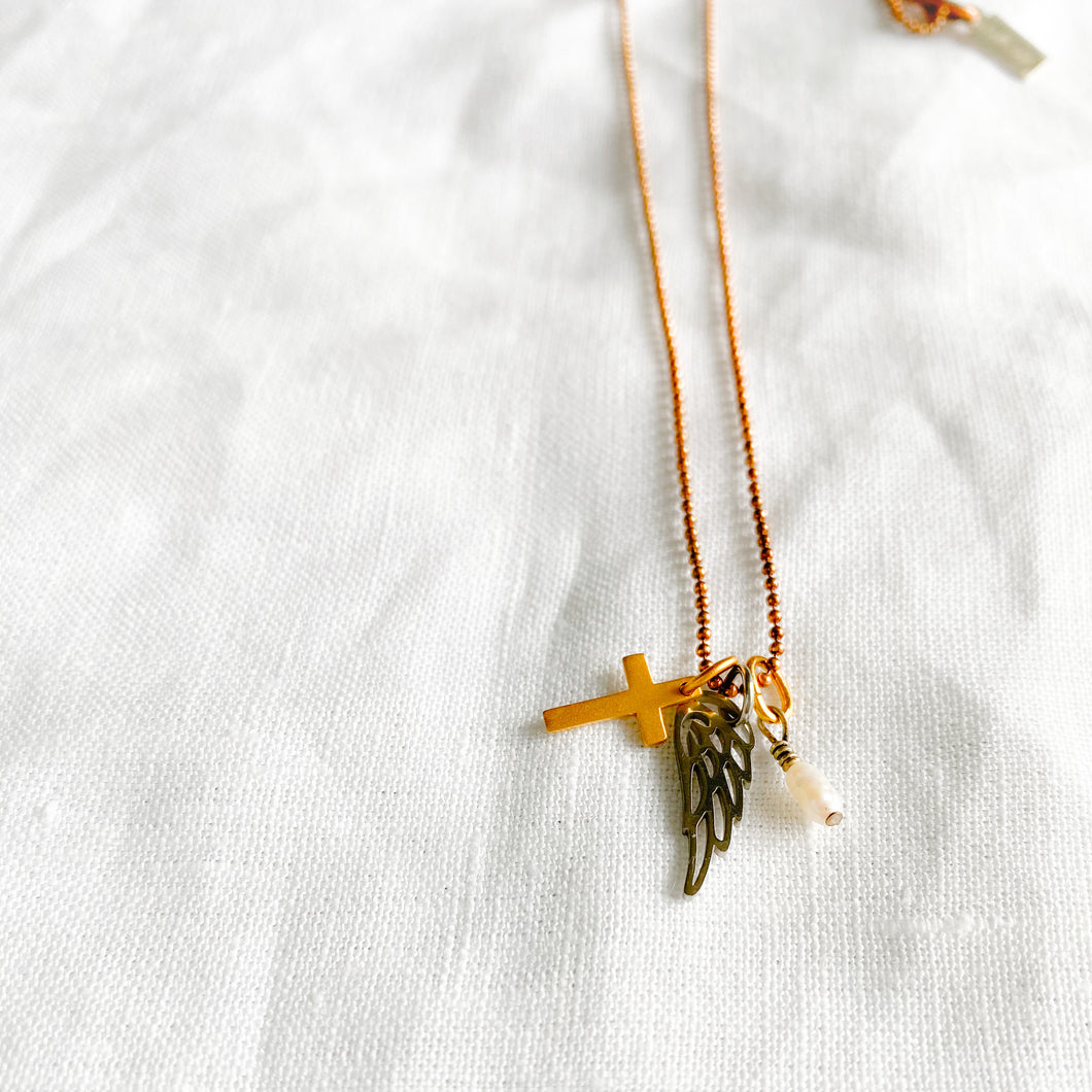 Wing cross pearl charm necklace rose gold chain long