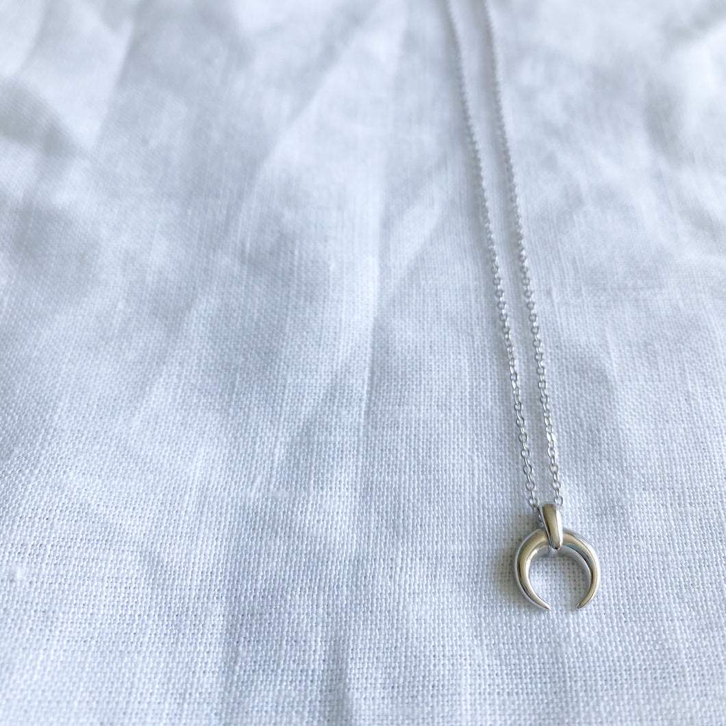 Crescent Moon Horn Mini Silver Necklace - BelleStyle
