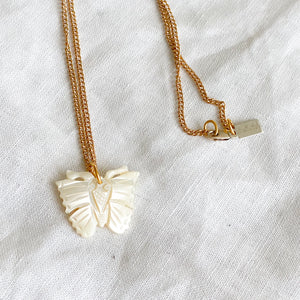 Butterfly Mother of Pearl Charm Necklace - Bellestyle