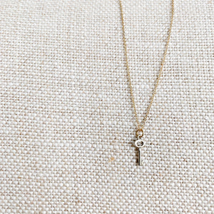 sterling silver key charm necklace gold chain