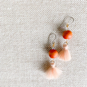 Orange and blush tassel dangle earrings
