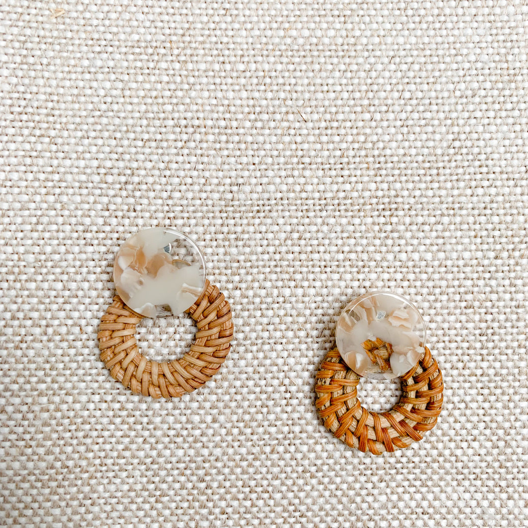 Wicker basketweave drop statement earrings Natural