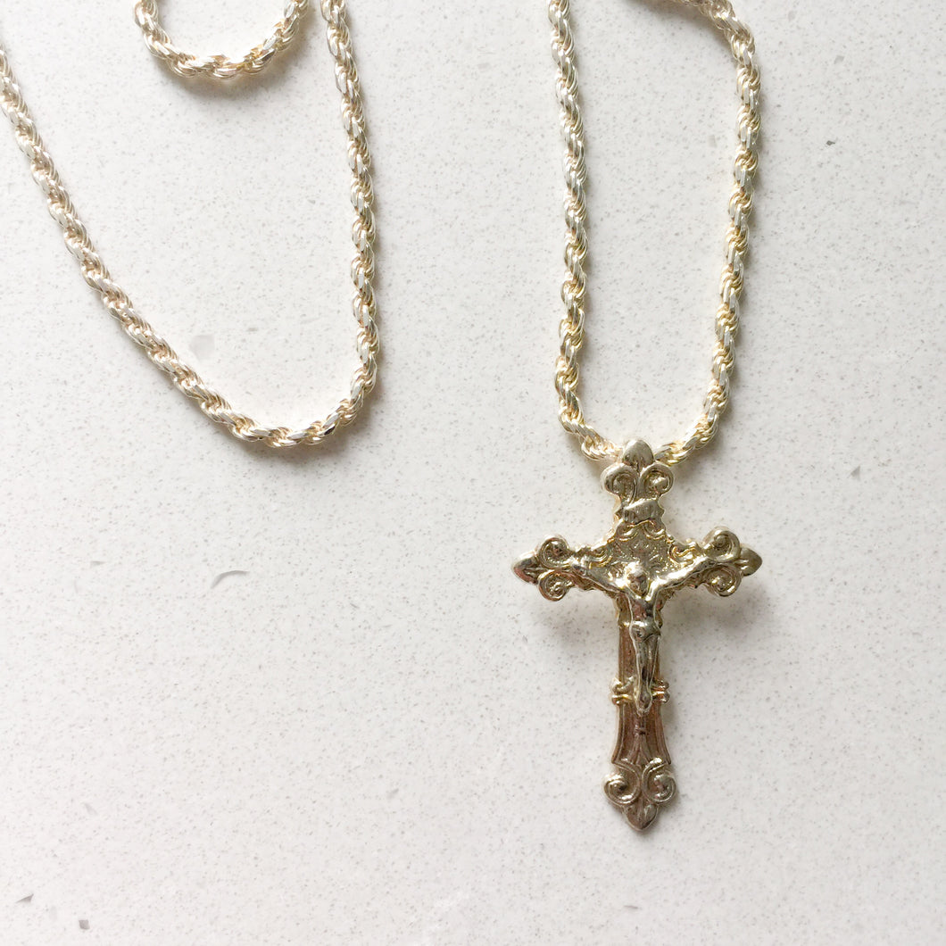 Sterling silver crucifix unisex necklace