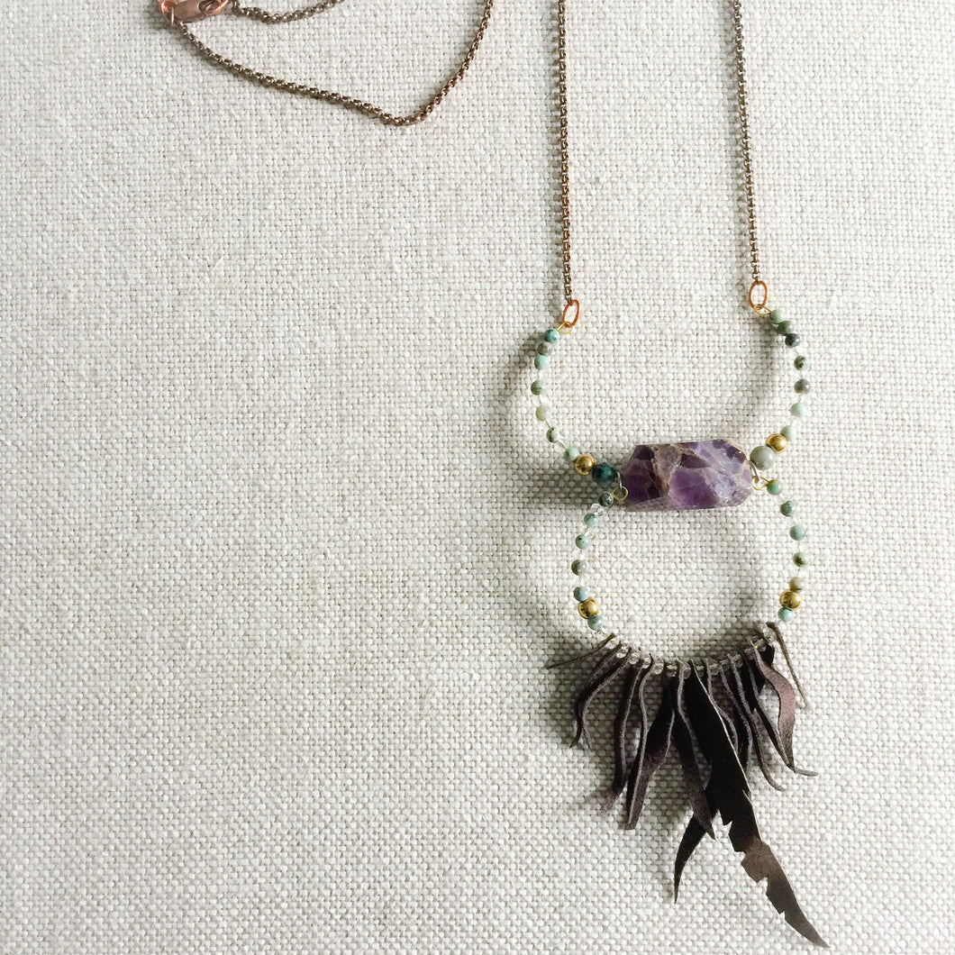 Amethyst chunk long necklace with turquoise, hematite and crystals.