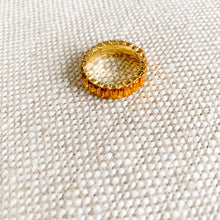 Orange baguette crystal gold ring