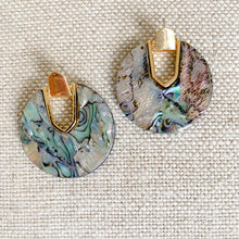 Round abalone shell gold earrings