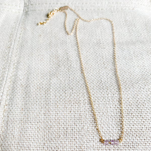 Amethyst mini gold chain necklace