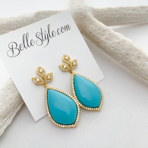Turquoise Pave crystal sterling silver statement earrings