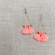 Coral cotton tassel triangle earrings