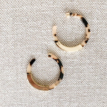 Beige and brown tortoise shell hoops with gold detail