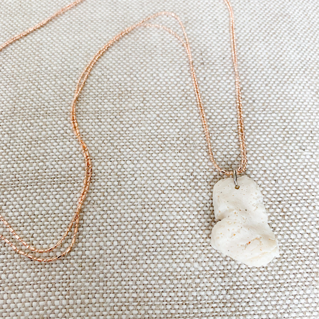White coral charm necklace rose gold chain