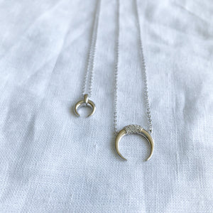Crescent Moon Horn Silver Necklace - BelleStyle